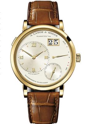 Replica A. Lange & Söhne Grand Lange 1 Watch - 40.9mm Yellow Gold Case - Champagne Dial - Brown Alligator Strap Watch 117.021