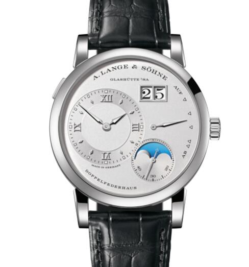 A Lange Sohne LANGE 1 MOON PHASE Platinum with dial in rhodié Replica Watch 192.025