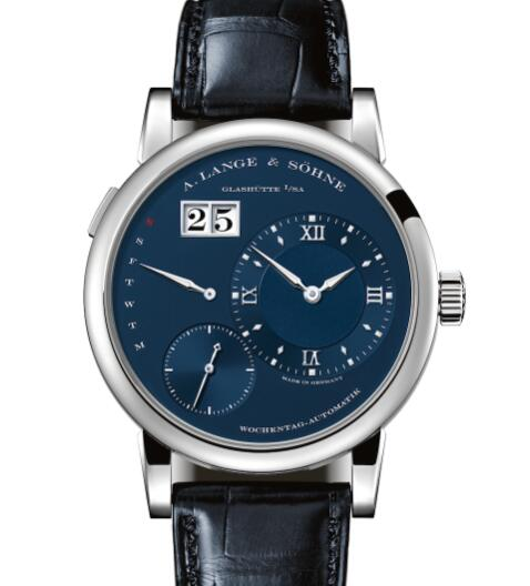 A Lange & Sohne LANGE 1 DAYMATIC White gold with dial in deep-blue Replica Watch 320.028