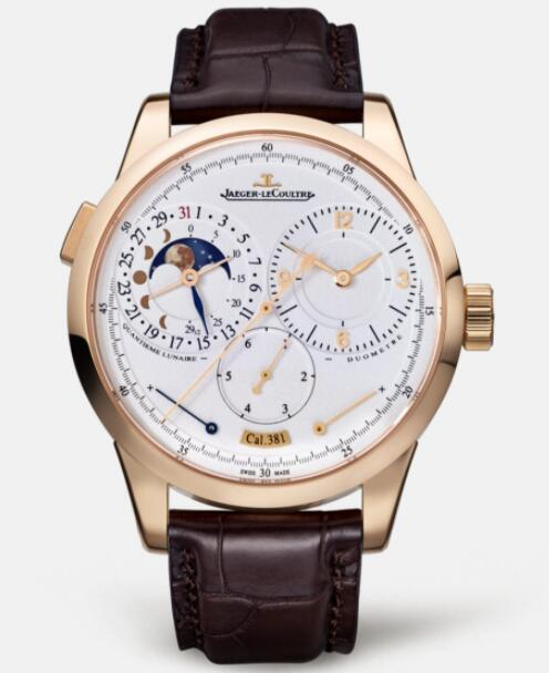 Jaeger Lecoultre Duomètre Quantième Lunaire Pink Gold Manual-winding Men Replica Watch 6042421