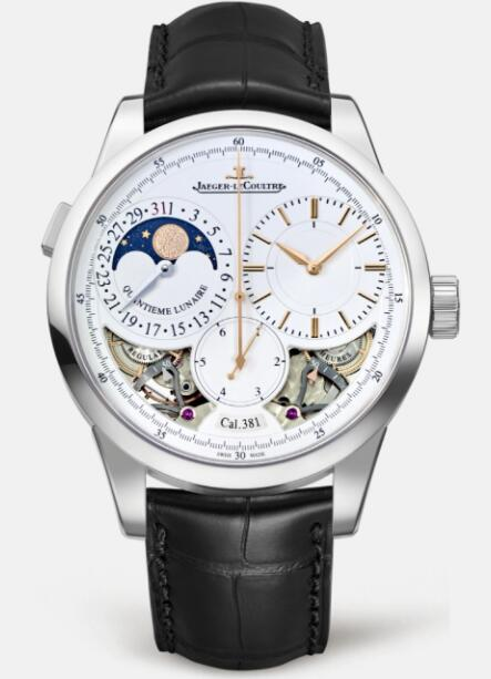 Jaeger Lecoultre Duomètre Quantième Lunaire White Gold Manual-winding Men Replica Watch 6043420