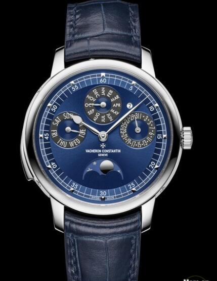 Replica Watch Vacheron Constantin Les Cabinotiers Minute Repeater Perpetual Calendar 6610C/000G-B511 White Gold - Blue Dial - Strap Alligator Leather