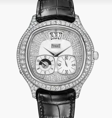 Replica Piaget Emperador cushion White gold Diamond Dual time zone Watch G0A32018 Piaget Luxury Watch