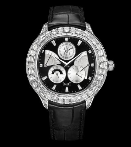Replica Piaget Emperador Coussin Perpetual Calendar White Gold Diamond Black Watch G0A37020