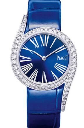 Replica Piaget Limelight Gala 32mm Watch White Gold Diamond Case - Blue Dial - Blue Strap G0A42163