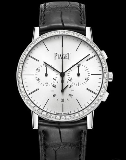 Replica Piaget Altiplano Chronographe Watch G0P40031 White Gold - Diamonds - Alligator Strap
