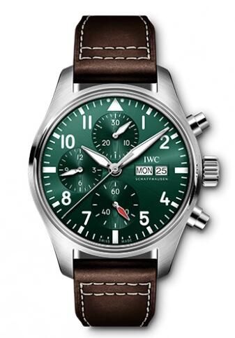 Replica IWC Pilot's Watch Chronograph 41 Stainless Steel Green IW388103