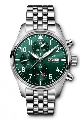 Replica IWC Pilot's Watch Chronograph 41 Stainless Steel Green Bracelet IW388104