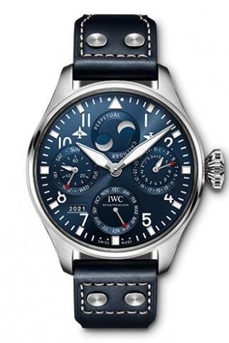 Replica IWC Big Pilot's Watch Perpetual Calendar Stainless Steel Blue IW503605