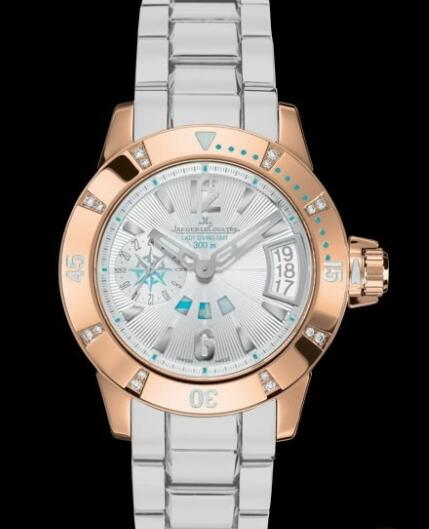 Jaeger Lecoultre Master Compressor Diving GMT Lady Replica Watch Q1892720 Pink Gold - White Rubber Strap